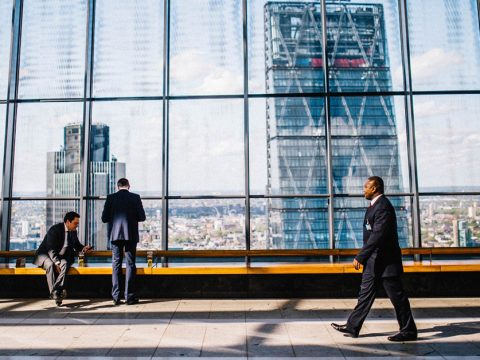 Man walking in corporate office